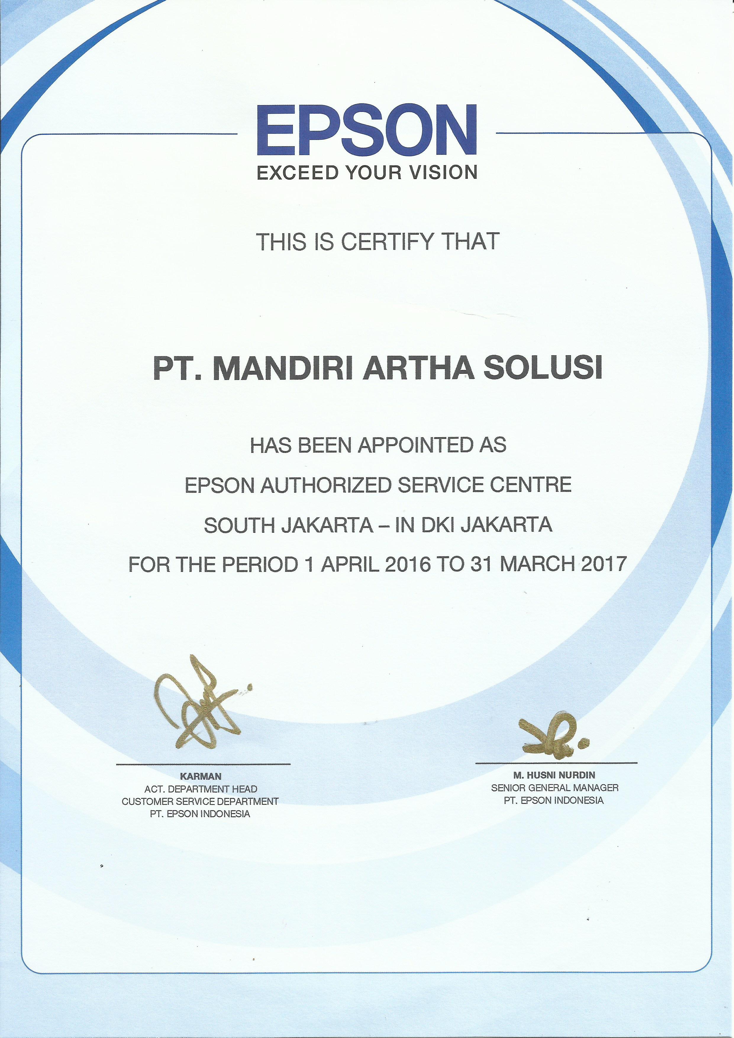 epson authorized service centre certificate