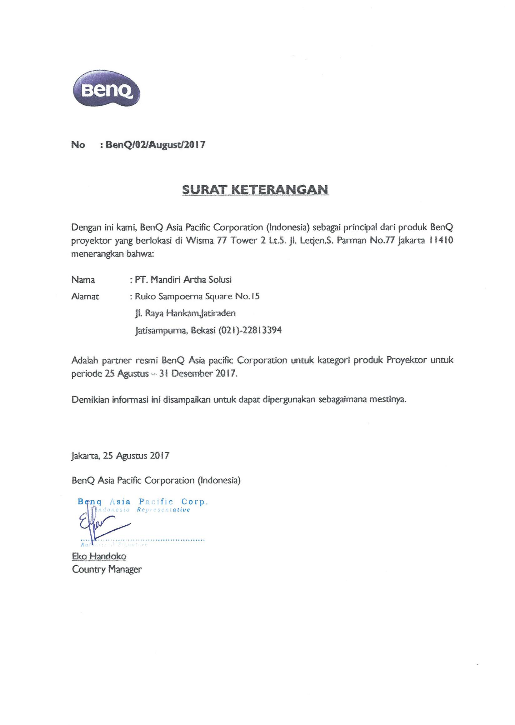Surat Keterangan Partner BenQ