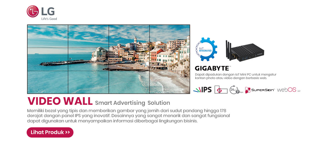 lg video wall with gigabyte iot mini pc