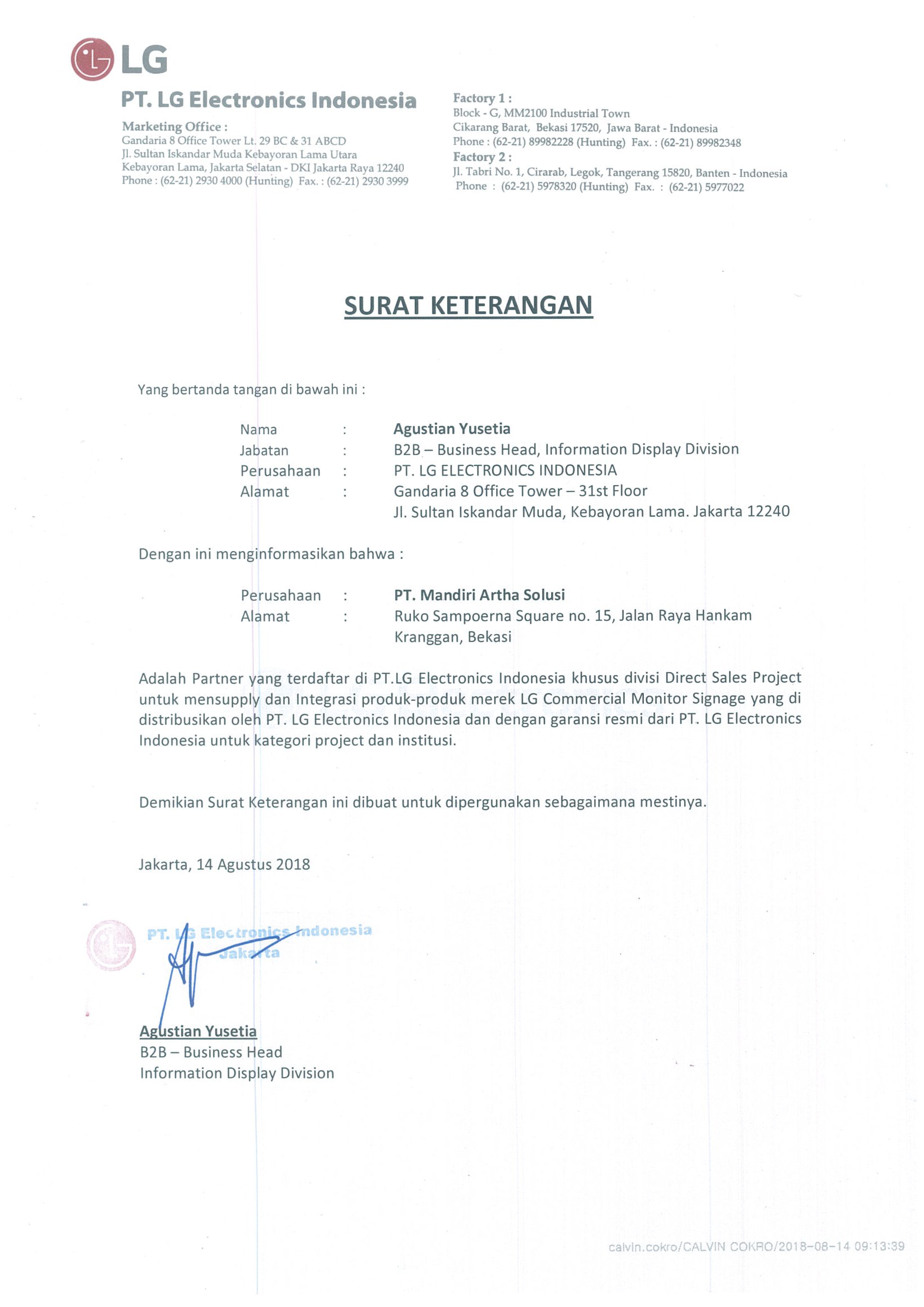 Surat Keterangan Partner LG