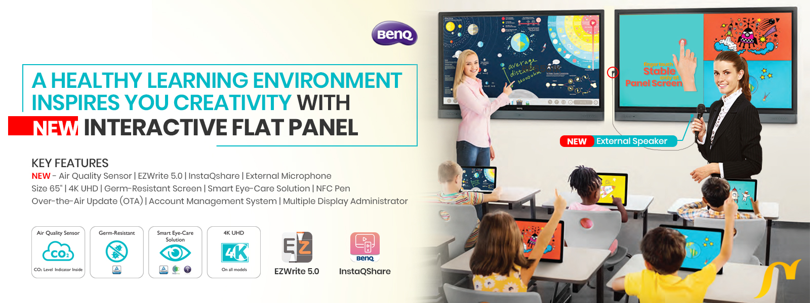new benq interactive flat panel for education slider