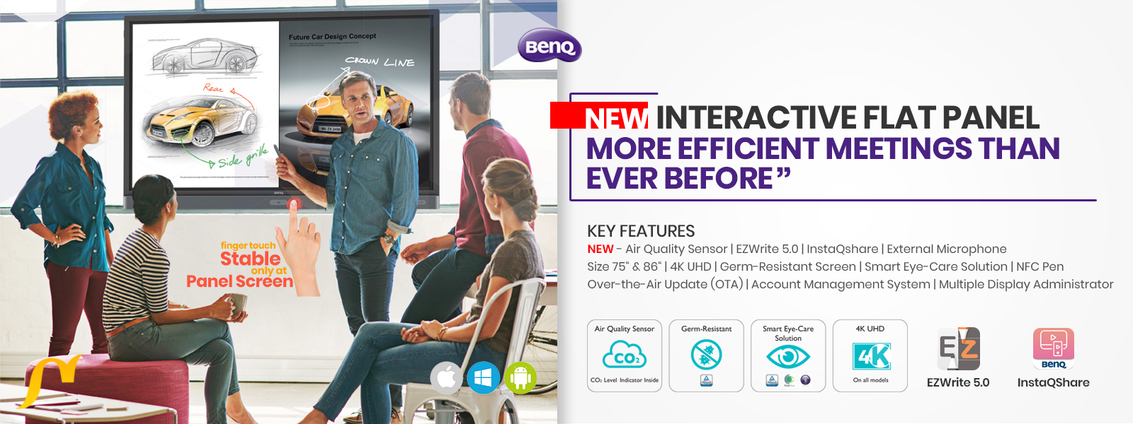 new benq interactive flat panel for government & corporate slider