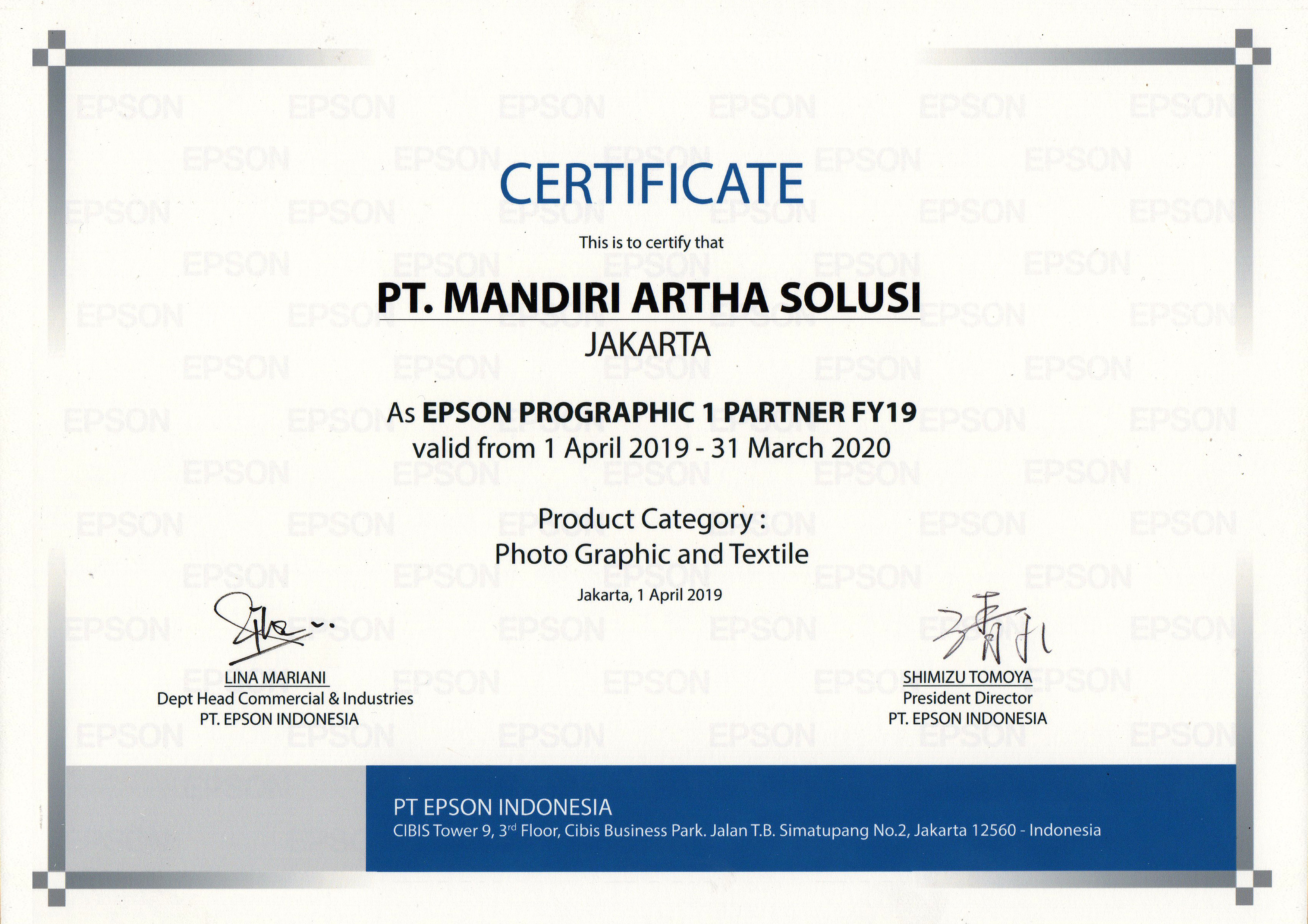 Certificate As EPSON PROGRAPHIC 1 PARTNER FY19