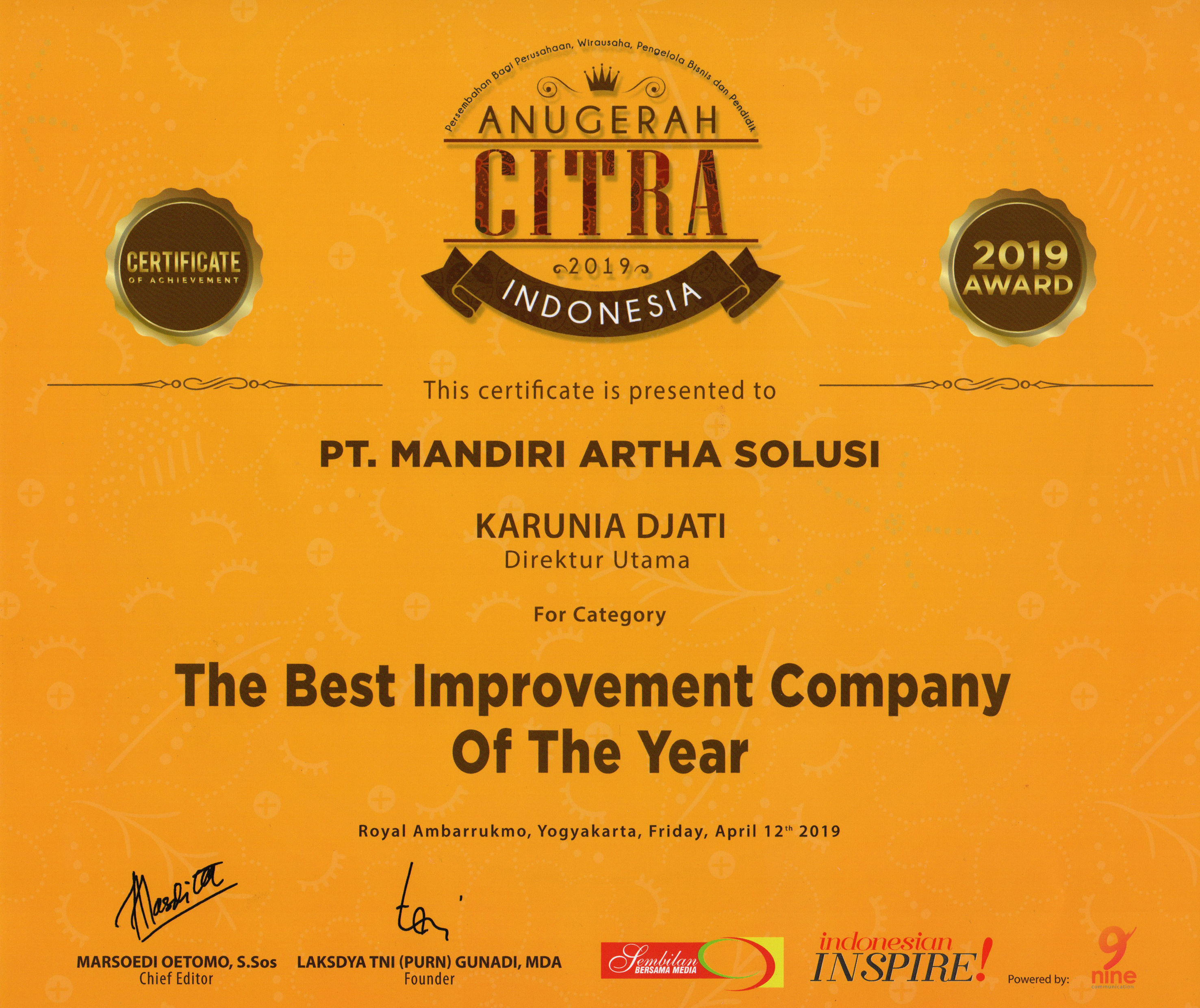The Best Improvement Company Of The Year