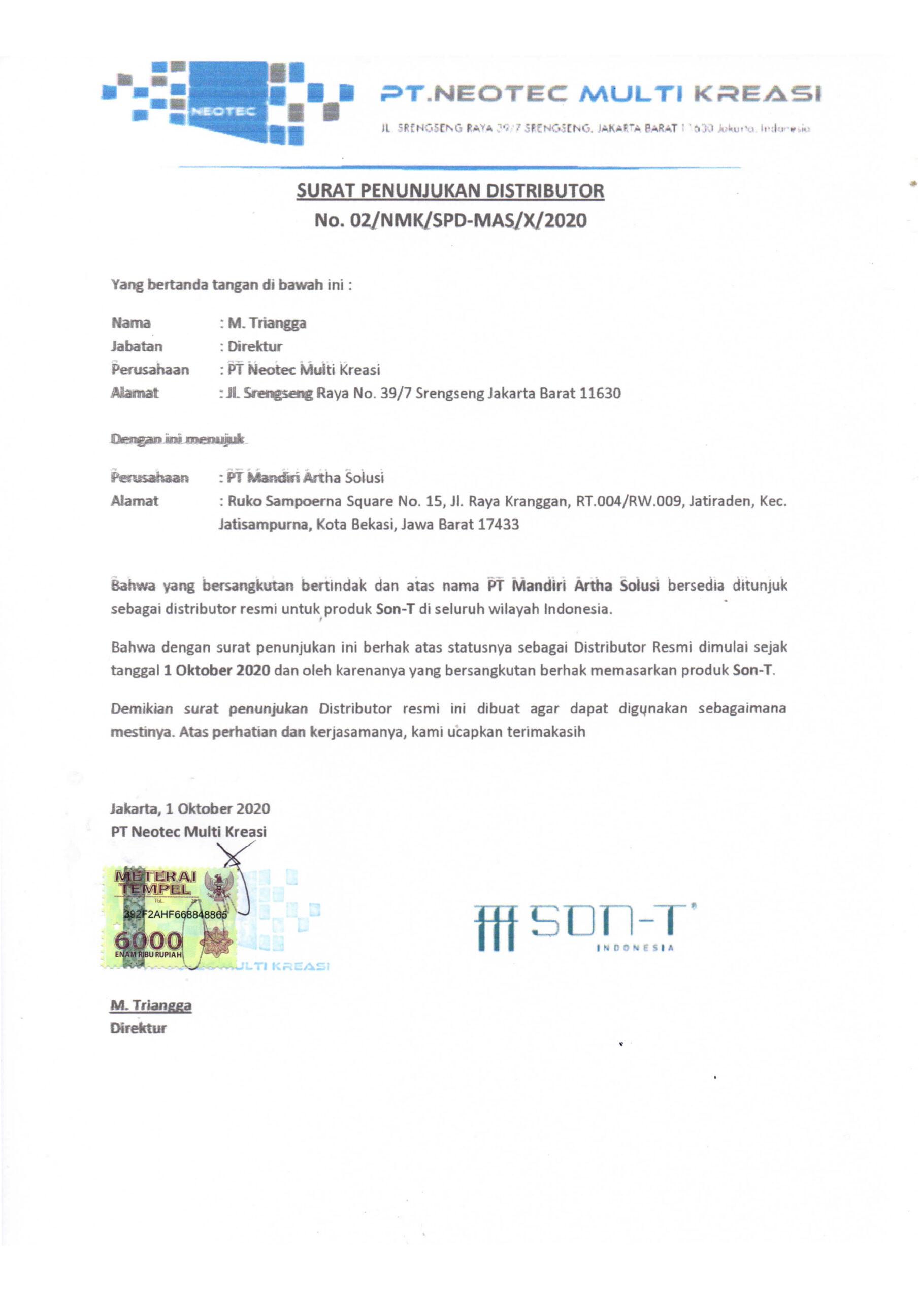 Surat Keterangan Distributor SON-T
