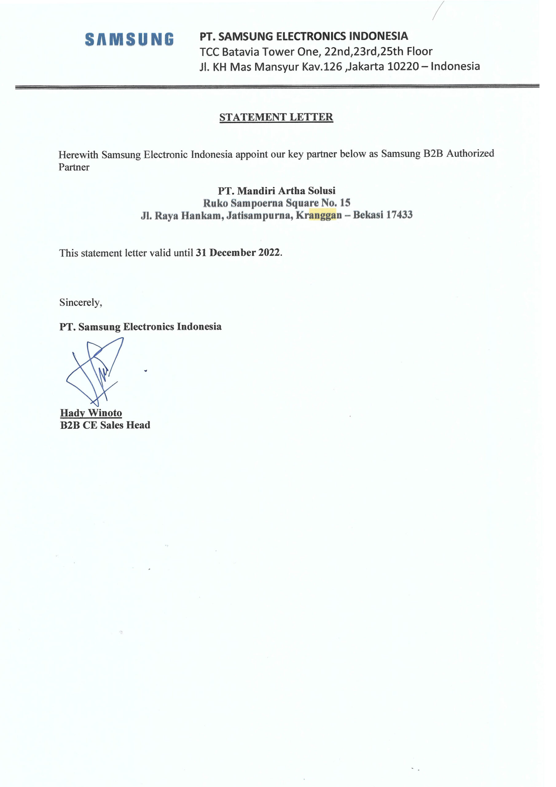 Surat Keterangan Partner Samsung